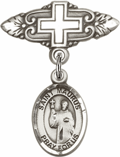 Bliss Baby Badge Pin with Cross with St Maurus Charm