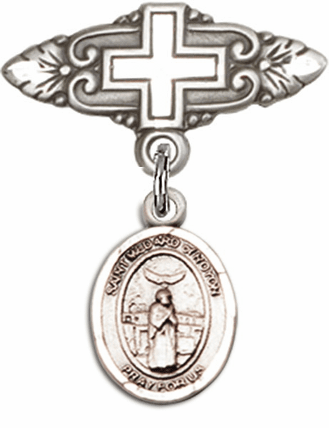 Bliss Baby Badge Pin with Cross with St Medard of Noyon Charm