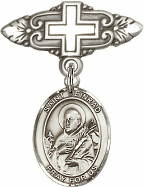 Bliss Baby Badge Pin with Cross with St Meinrad of Einsideln Charm