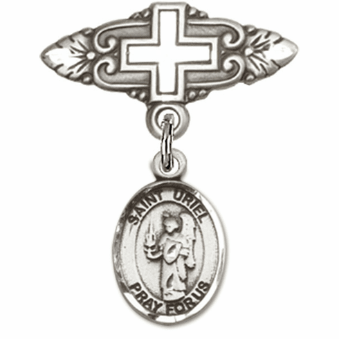 Bliss Baby Badge Pin with Cross with St Uriel the Archangel Charm