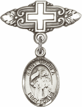 Bliss Baby Badge Pin with Cross with St Ursula Charm