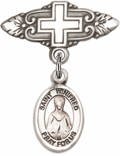 Bliss Baby Badge Pin with Cross with St Winifred of Wales Charm