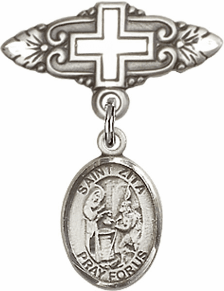 Bliss Baby Badge Pin with Cross with St Zita Charm