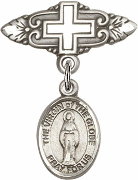 Bliss Baby Badge Pin with Cross with Virgin of the Globe Charm