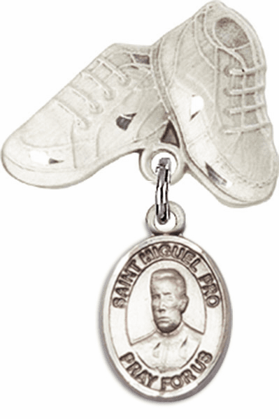 Bliss Baby Boots Pin Baby Badge with Blessed Miguel Agustin Pro Charm