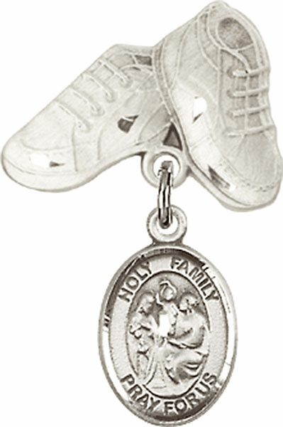 Bliss Baby Boots Badge Pin Baby Badge with Holy Family Charm