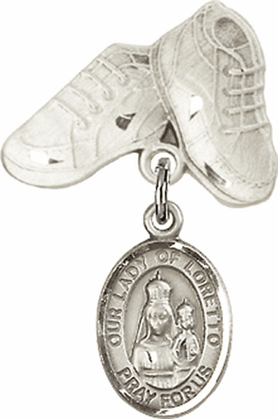 Bliss Baby Boots Pin Baby Badge with Our Lady of Loretto Charm