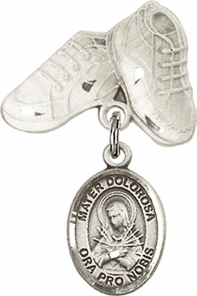 Bliss Baby Boots Badge Pin Baby Badge with Our Lady of Sorrows - Mater Dolorosa Charm
