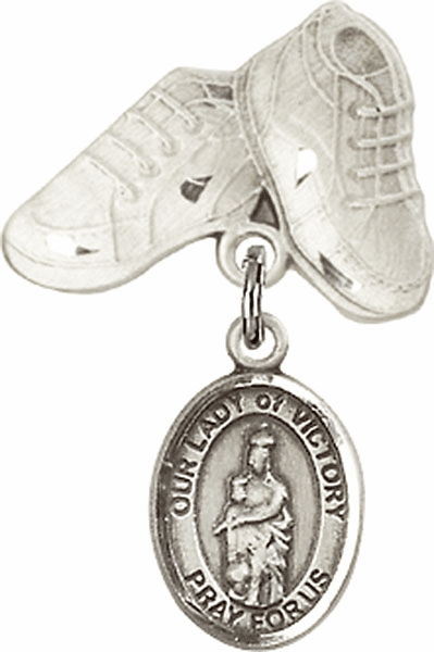 Bliss Baby Boots Badge Pin Baby Badge with Our Lady of Victory Charm
