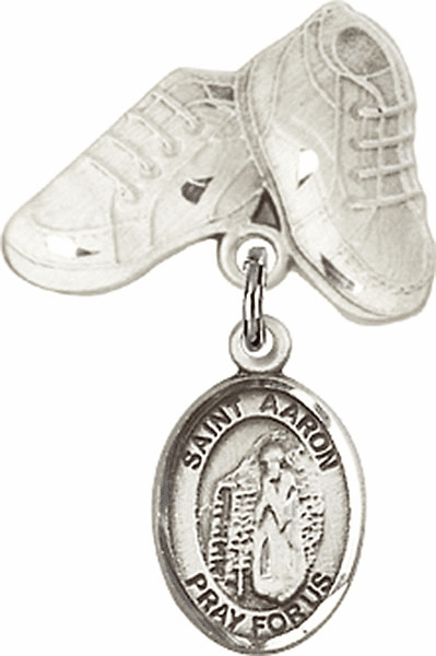 Bliss Baby Boots Pin Baby Badge with St Aaron Charm