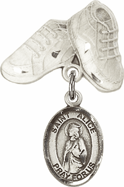 Bliss Baby Boots Badge Pin Baby Badge with St Alice Charm