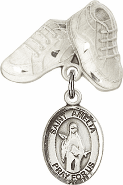 Bliss Baby Boots Badge Pin Baby Badge with St Amelia Charm