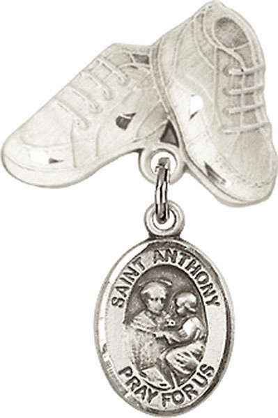 Bliss Baby Boots Pin Baby Badge with St Anthony of Padua Charm