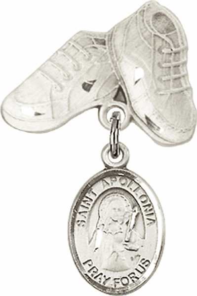Bliss Baby Boots Badge Pin Baby Badge with St Apollonia Charm