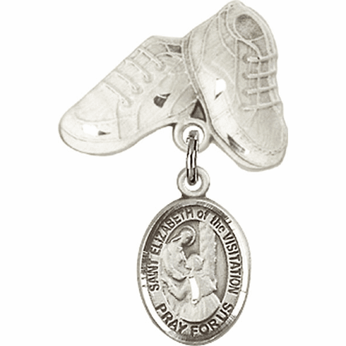 Bliss Baby Boots Pin Baby Badge with St Elizabeth of the Visitation Charm