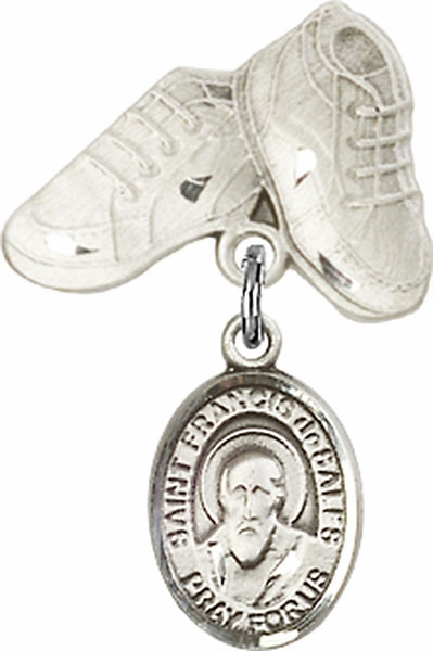 Bliss Baby Boots Pin Baby Badge with St Francis de Sales Charm