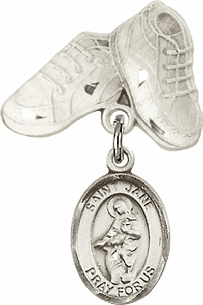 Bliss Baby Boots Badge Pin Baby Badge with St Jane of Valois Charm