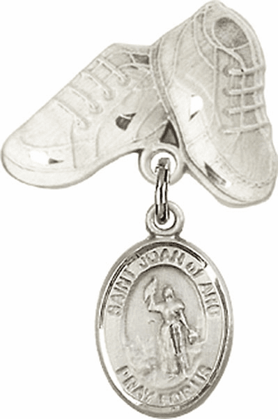 Bliss Baby Boots Badge Pin Baby Badge with St Joan of Arc Charm