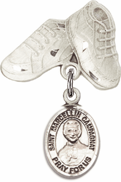 Bliss Baby Boots Pin Baby Badge with St Marcellin Champagnat Charm