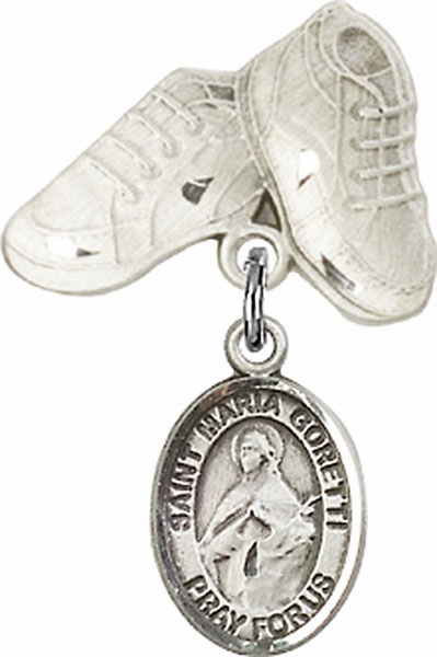 Bliss Baby Boots Pin Baby Badge with St Maria Goretti Charm