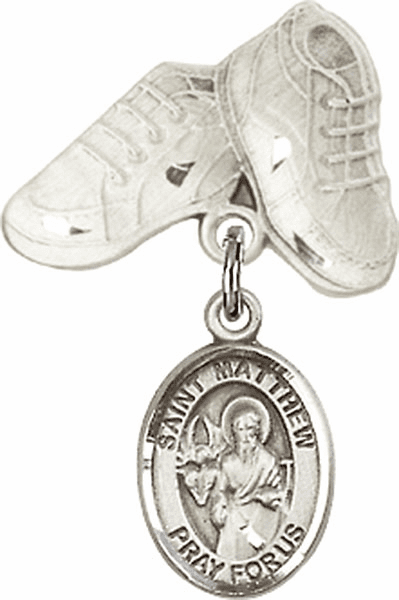 Bliss Baby Boots Badge Pin Baby Badge with St Matthew the Apostle Charm