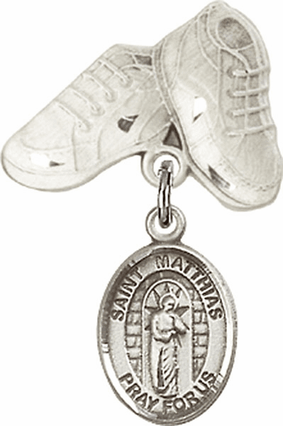 Bliss Baby Boots Badge Pin Baby Badge with St Matthias the Apostle Charm