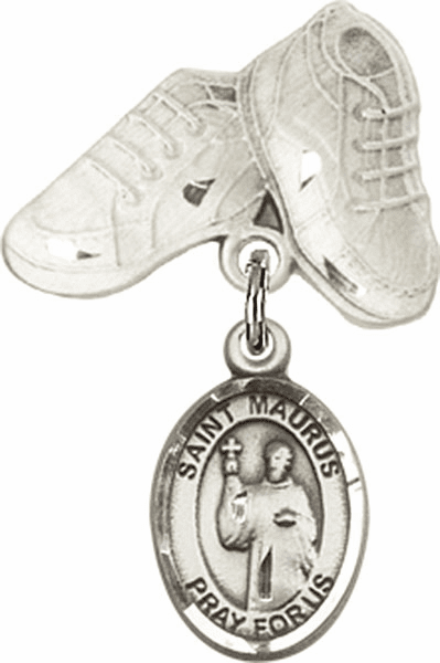 Bliss Baby Boots Pin Baby Badge with St Maurus Charm
