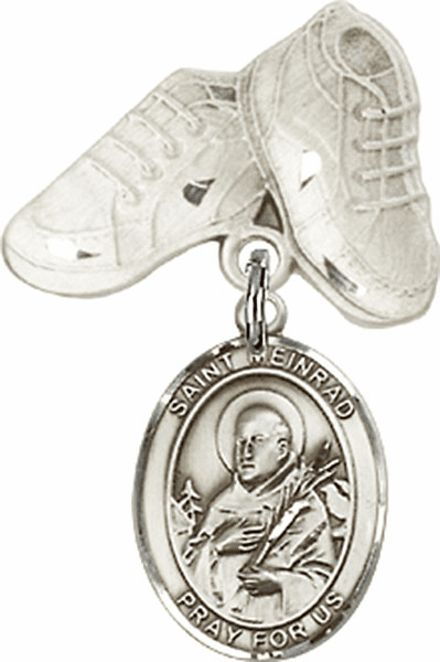 Bliss Baby Boots Pin Baby Badge with St Meinrad of Einsideln Charm