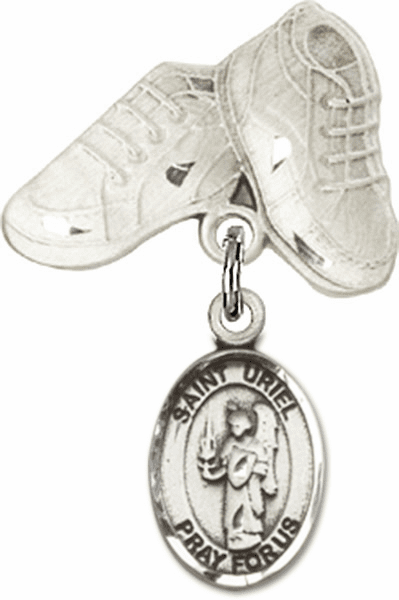 Bliss Baby Boots Pin Baby Badge with St Uriel the Archangel Charm