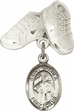 Bliss Baby Boots Badge Pin Baby Badge with St Ursula Charm