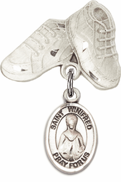 Bliss Baby Boots Badge Pin Baby Badge with St Winifred of Wales Charm