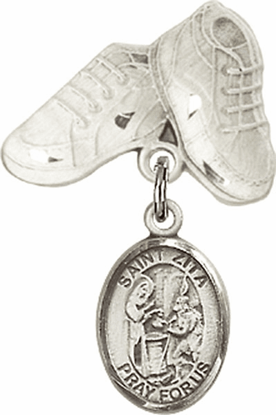 Bliss Baby Boots Badge Pin Baby Badge with St Zita Charm