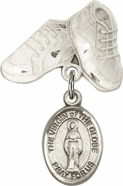 Bliss Baby Boots Badge Pin Baby Badge with Virgin of the Globe Charm
