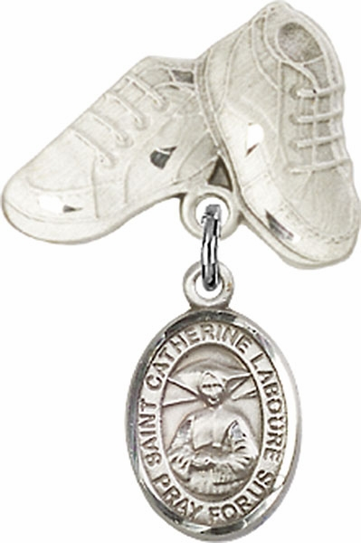 Bliss Baby Boots Pin Baby Badge with St Catherine Laboure Charm