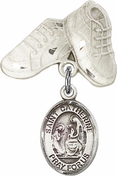 Bliss Baby Boots Pin Baby Badge with St Catherine of Siena Charm
