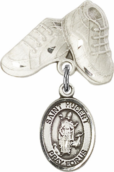 Bliss Baby Boots Pin Baby Badge with St Hubert of Liege Charm