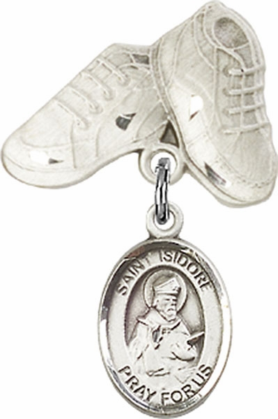 Bliss Baby Boots Pin Baby Badge with St Isidore of Seville Charm