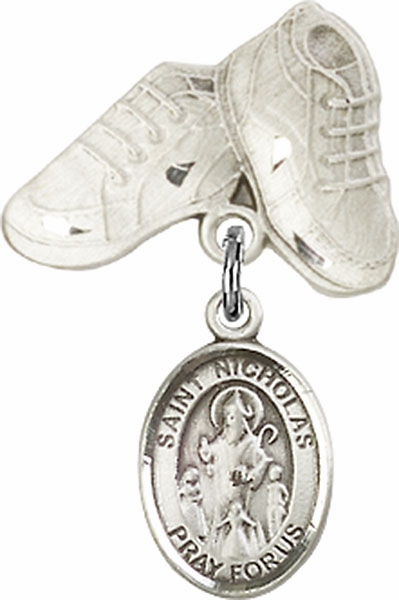 Bliss Baby Boots Pin Baby Badge with St Nicholas Charm