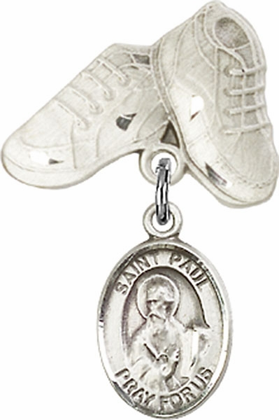 Bliss Baby Boots Pin Baby Badge with St Paul the Apostle Charm