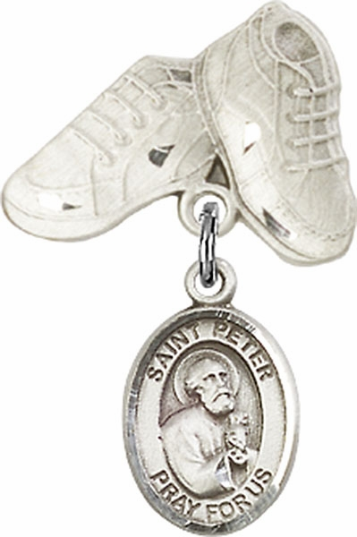 Bliss Baby Boots Pin Baby Badge with St Peter the Apostle Charm
