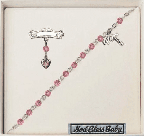 Bliss Baby Silver Plated Pin & Crystal Rosary Bracelet Set