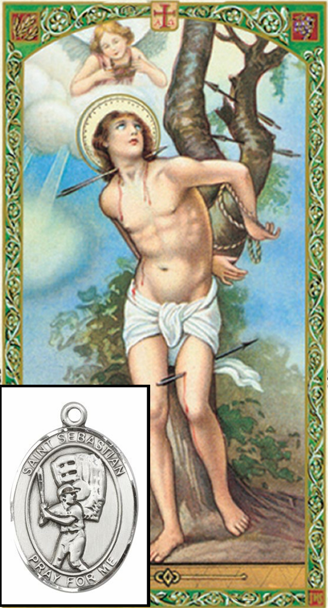 Bliss Baseball St Sebastian Prayer Card and Pewter Pendant Necklace Gift Set