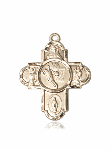 Bliss Basketball 5-Way Cross 14kt Gold Medal Necklace