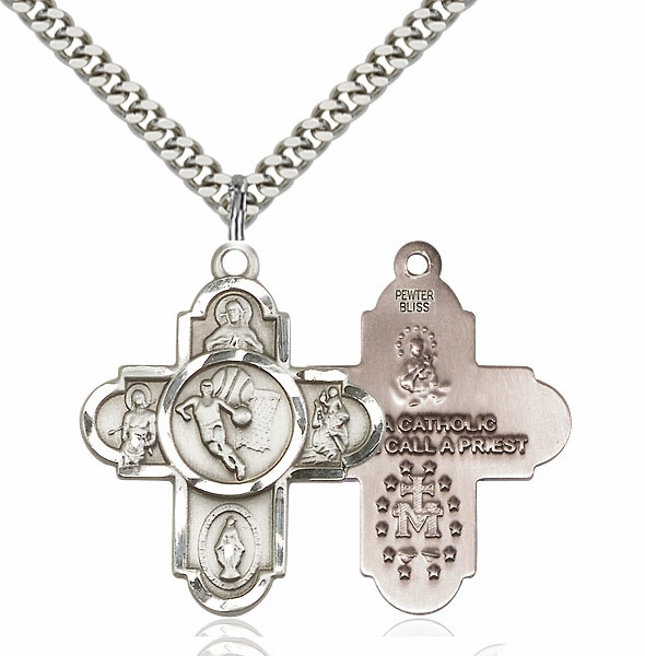 Bliss Basketball 5-Way Cross Pewter Medal Necklace