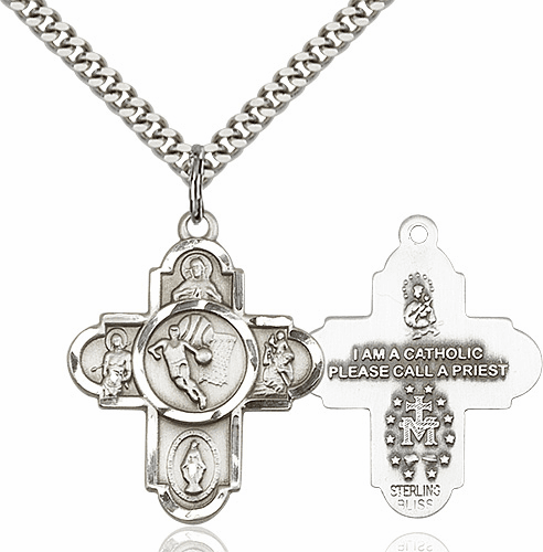 Bliss Basketball 5-Way Cross Sterling-Filled Medal Necklace
