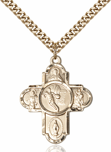 Bliss Basketball Gold-filled 5-Way Cross Sports Medal