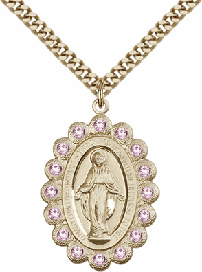 Bliss Large Birthstone Miraculous Medal Pendants