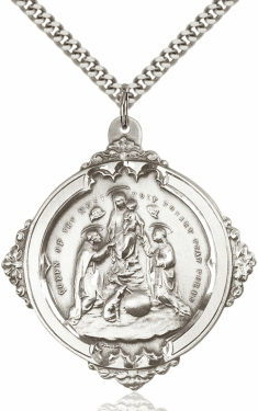 Bliss Catholic Holy Rosary Sterling Medal Necklace