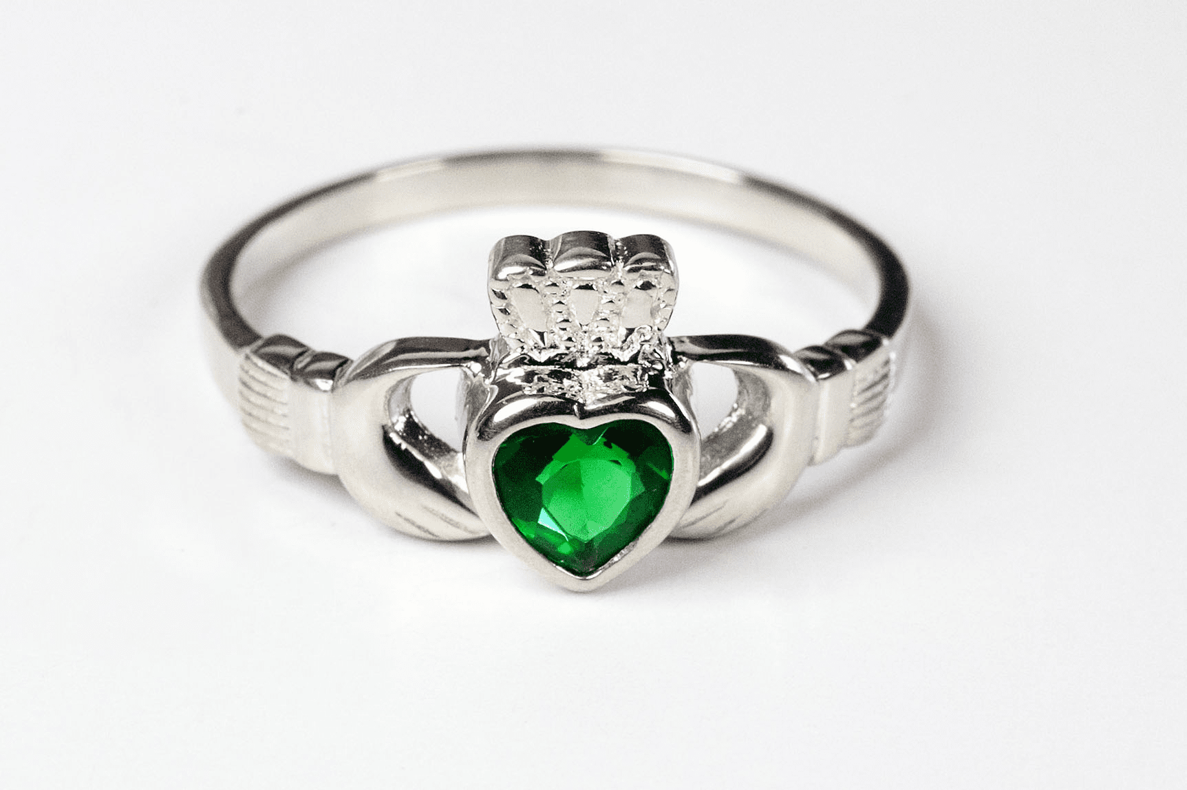 Bliss Catholic Sterling Silver Claddagh w/Emerald Stone Ring