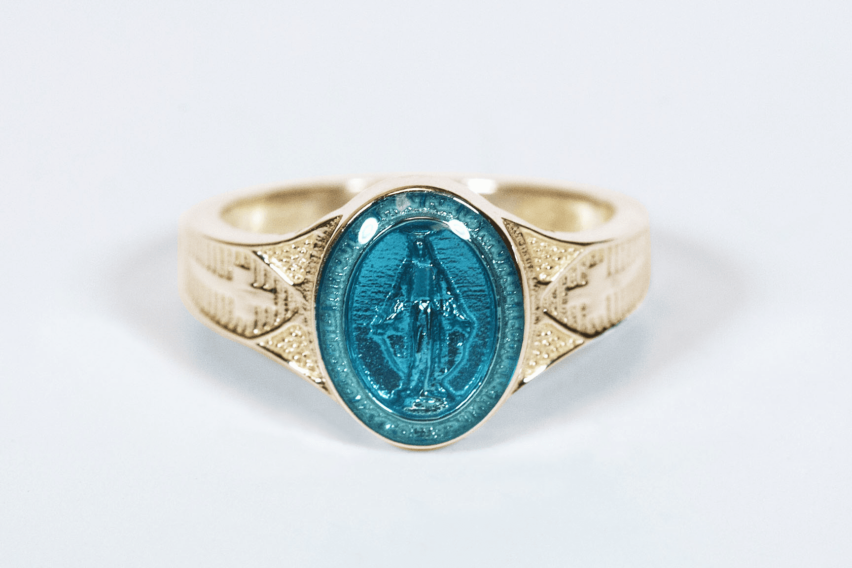 Bliss Catholic Women's 14kt Yellow Gold Blue Epoxy Miraculous Medal Ring